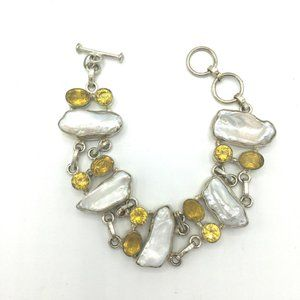 Baroque Pearl and Citrine Sterling Silver Bracelet